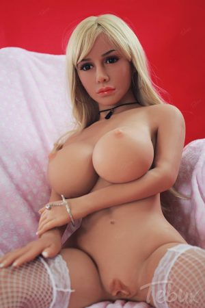 blonde BBW Sex Dolls wearing nothing but white stockings and has a tanned skin