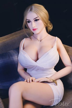 Mature Sex Dolls in short white dress and curvy body