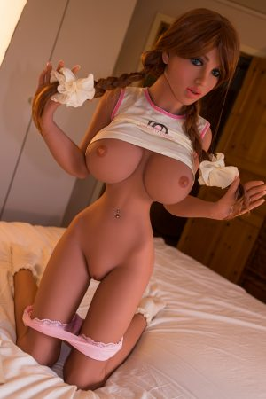 Red Head Sex Doll showing her private parts holding her ponytails