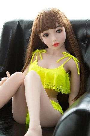 brunette teen Lifelike Sexdolls in yellow beachwear