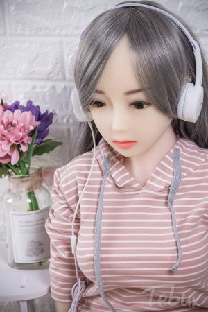 asian teen sex doll with gray hair listening music
