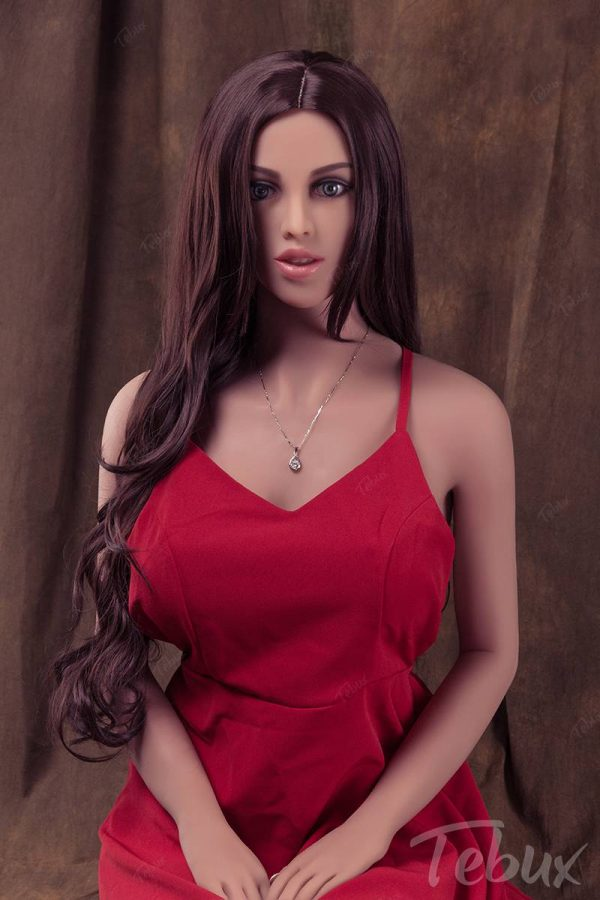 Best Sex Doll brunette in red tight dress