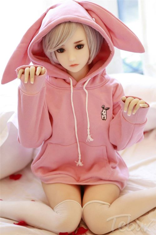 teen Cheap TPE Sex Dolls wearing pink bunny outfit