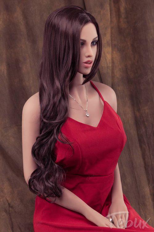 Best sex doll sitting wearing red dress
