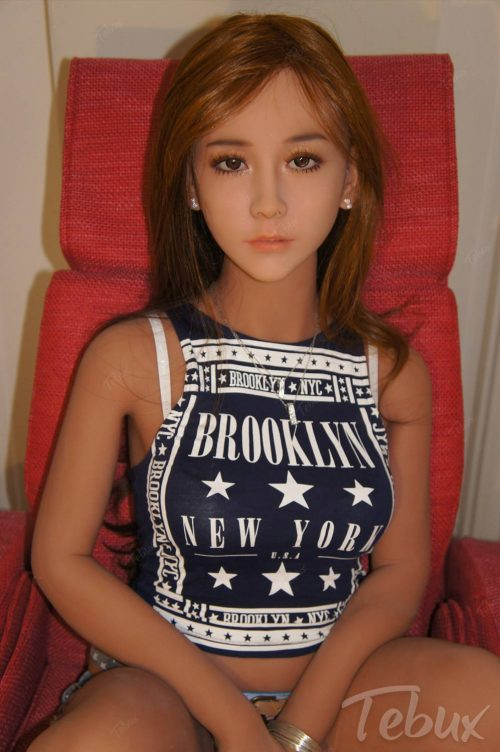 Realistic brunette sex doll in tanktop