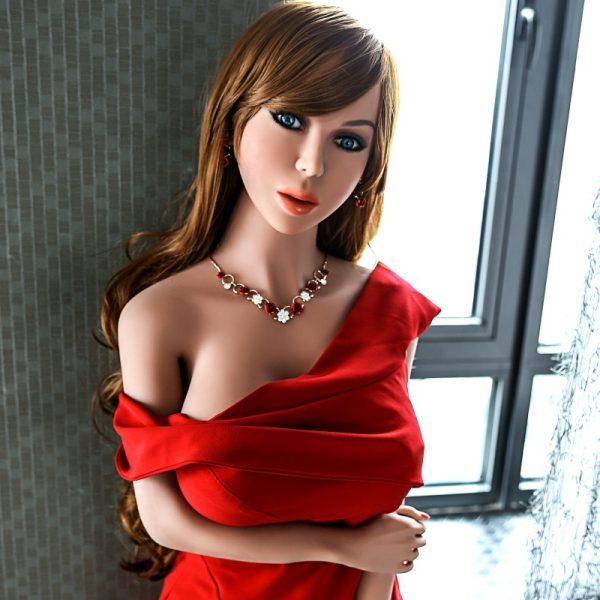 Big boobs sexdoll Meredith standing wearing red dress