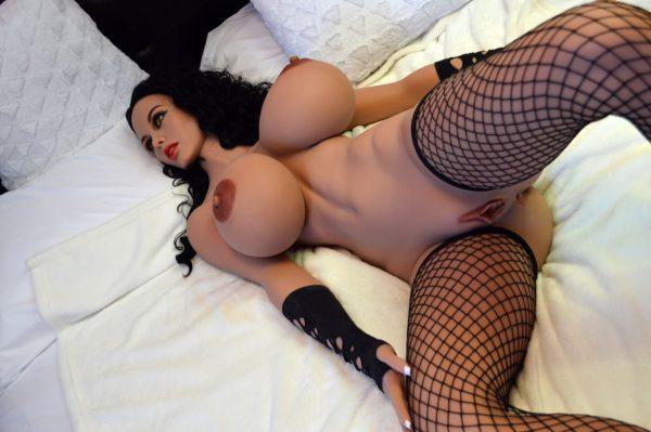 Latina brunette sex doll in black leather lingerie