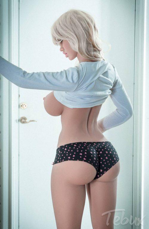 Topless blonde sex doll Ellen with black lingerie