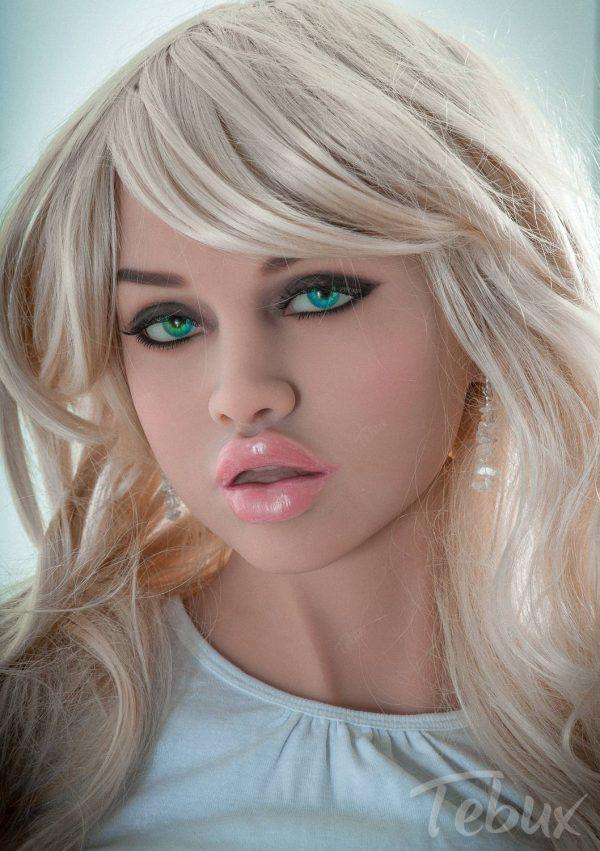 Blonde sex doll Ellen standing up