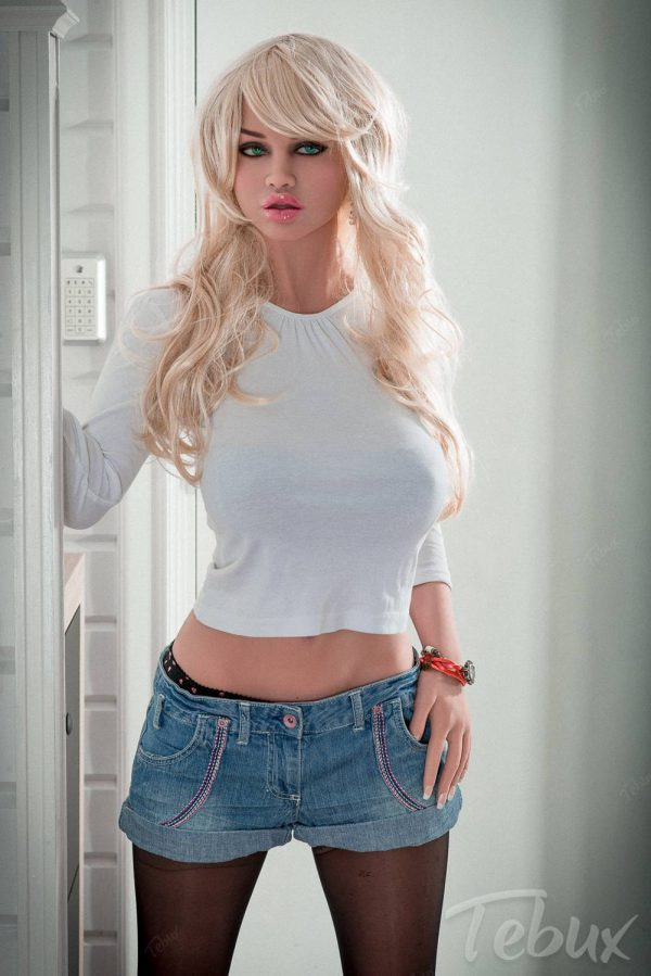 Busty blonde sex doll Ellen standing up