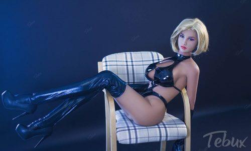 Cheap sex doll sitting in black lingerie