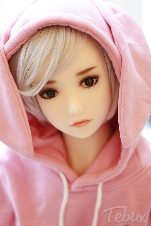 Cheap tpe sex doll sitting wearing pink jumper