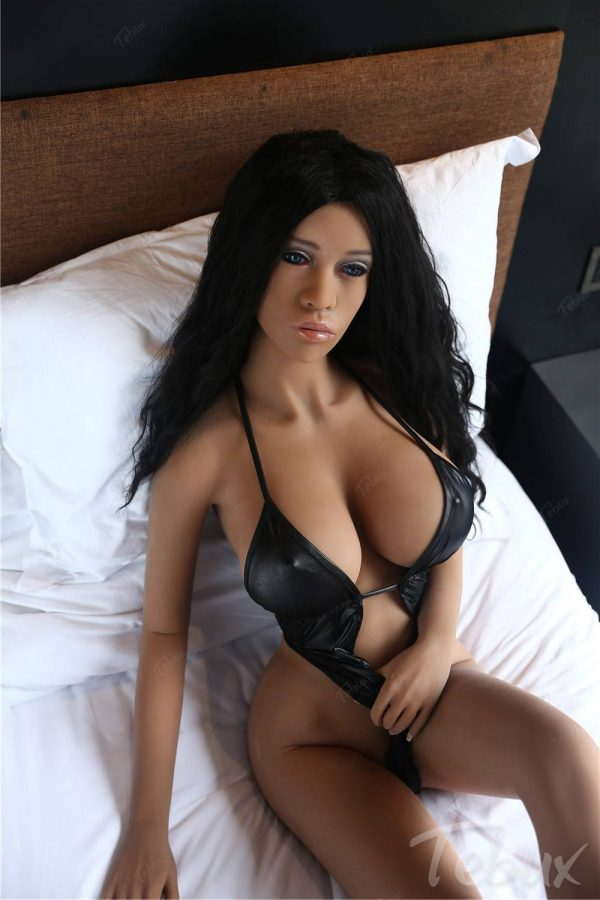 Latina sex doll sitting in black lingerie