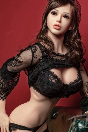 Love sex doll sitting wearing black lingerie