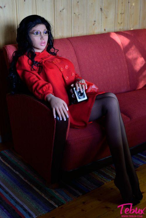 big boobs sex dolls brunette in red lingerie