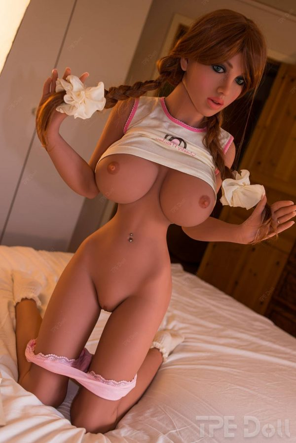 Red head sex doll kneeling naked