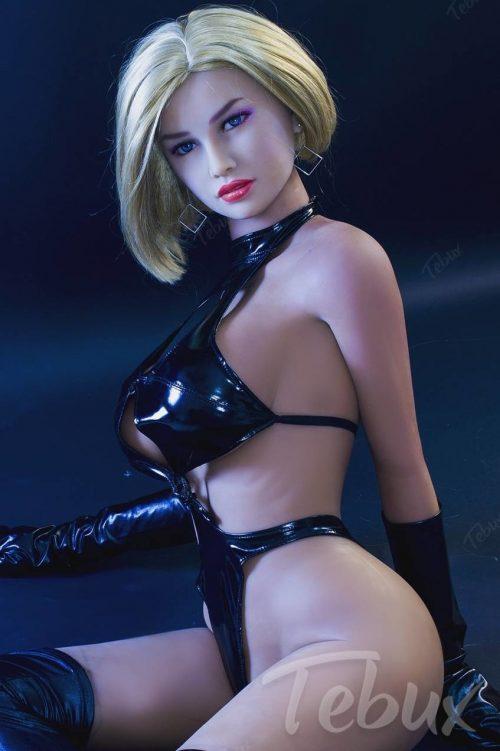 blonde cheap sex dolls in black latex lingerie