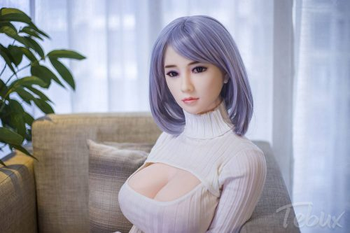 Sex doll for men sitting wearing white top