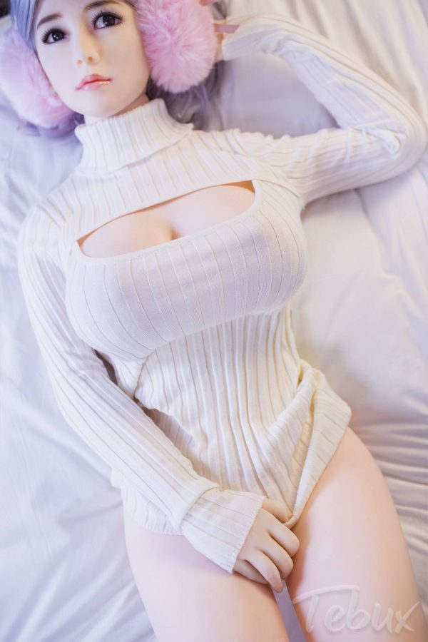 Sex doll for men lying down wearing white top