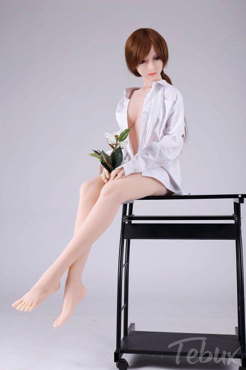 Skinny sex dolls like Catalina wearing a white shirt