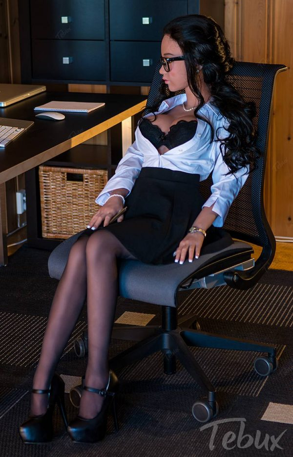 Brunette sex doll in office outfit