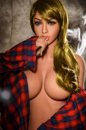 blonde Big Tits Sex Dolls half naked in lumberjack shirt