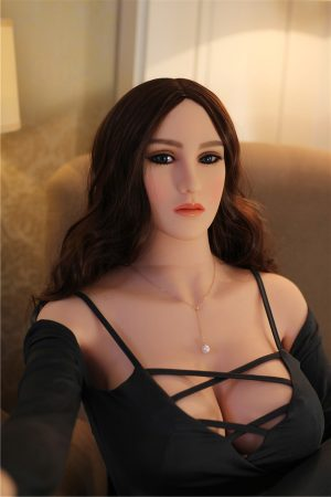 Curvy Sex Dolls brunette showing cleavage through black shirt