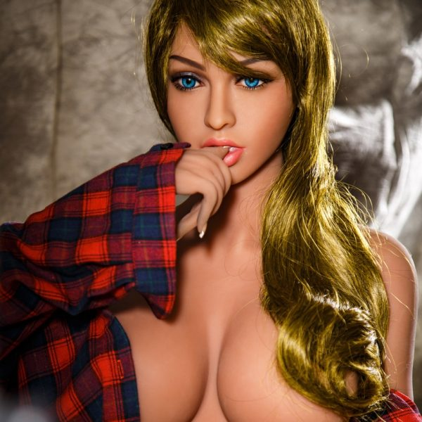Blonde sex doll in button up shirt