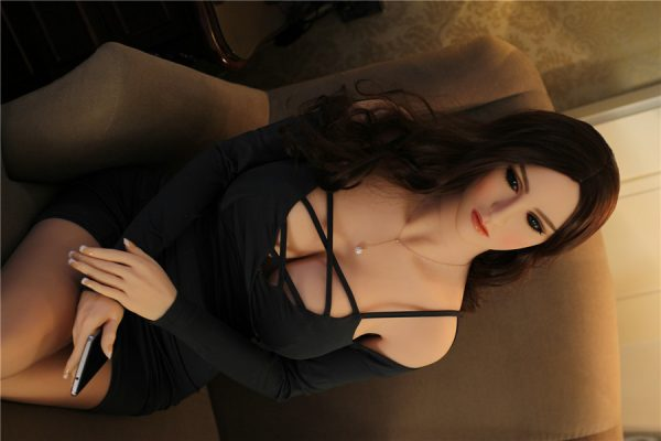 brunette sex doll in black dress