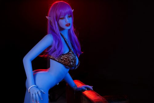 Succubus sex doll with purple skin and pointy ears