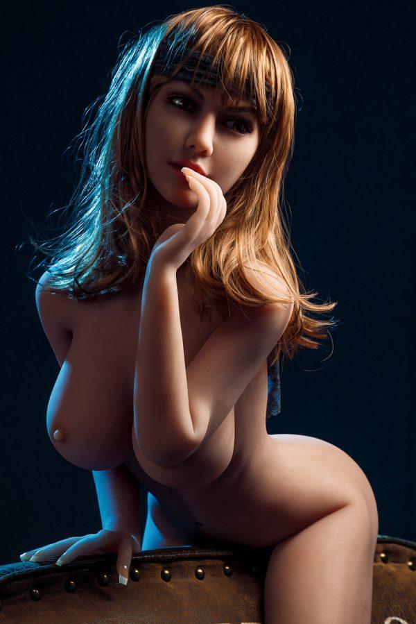 Life-like sex doll Mary sitting naked