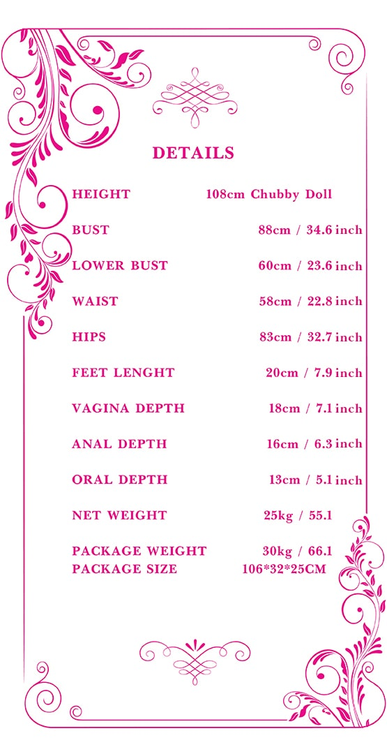 108cm chubby sex doll measurements Tebux