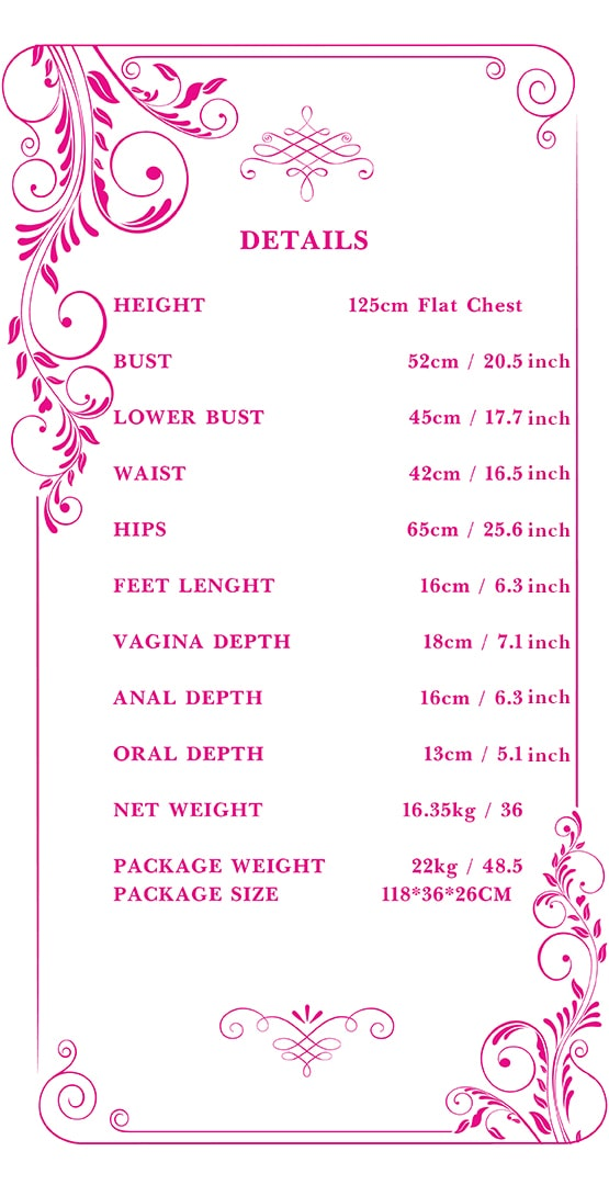 125cm flat chest sex doll measurements Tebux