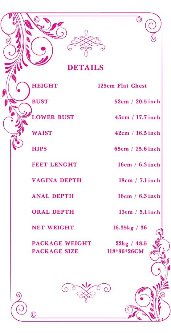 125cm flat chest sex doll measurements Tebux