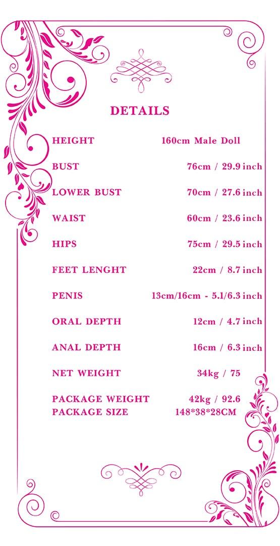 160cm male sex doll measurements Tebux
